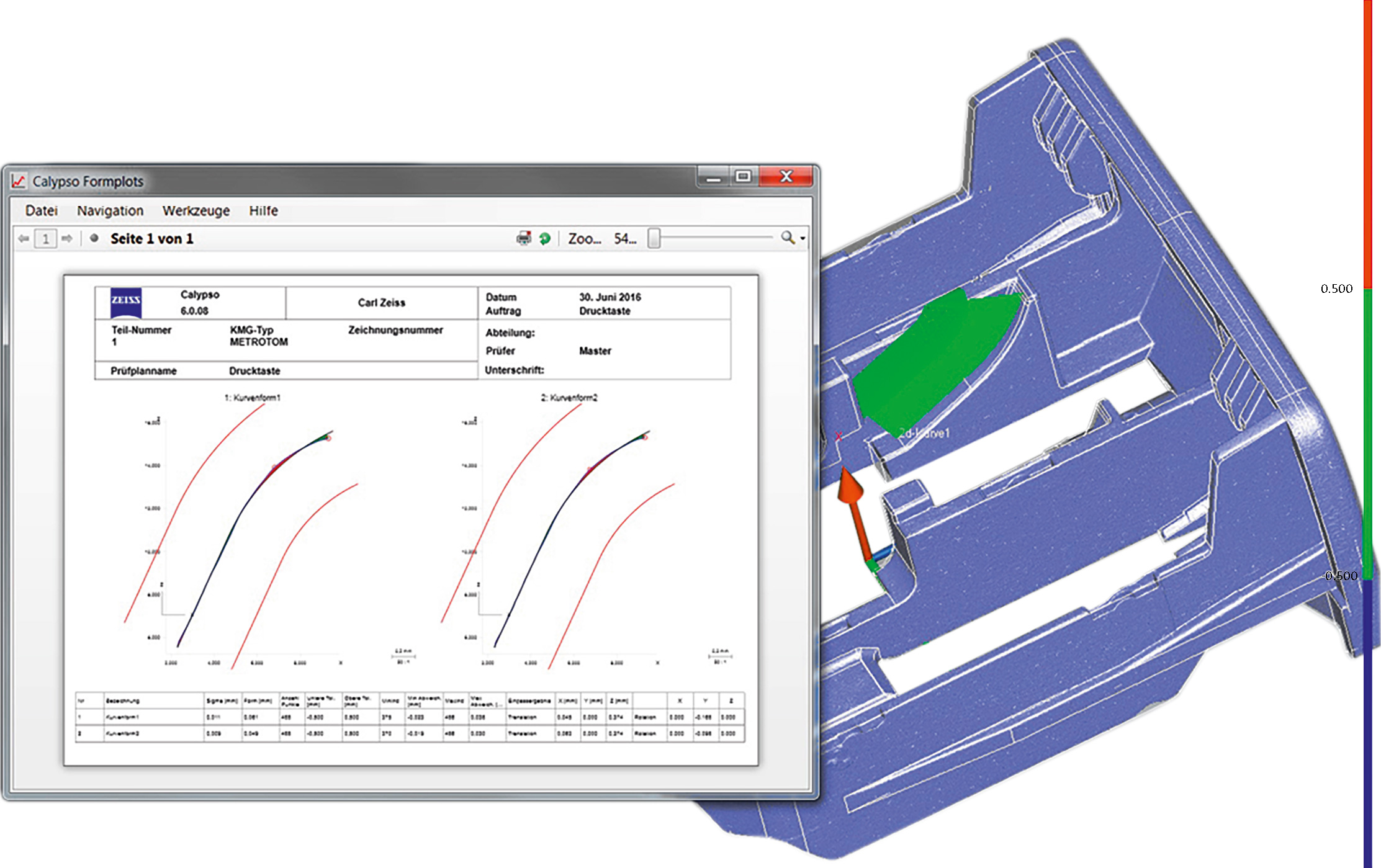 Detail analysis of a curve form on the component using ZEISS CALYPSO CT.